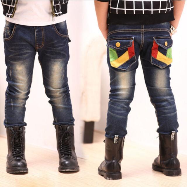 Toddler Boys Baby Kids Jeans Colorful Splits Pocket Denim Pants Trousers Sz 2-7Y