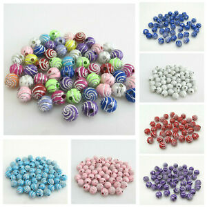 50pcs X 10mm Sparkling Silver Swirl Acrylic Beads for Jewellery various colours
