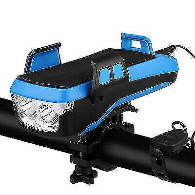 4 in 1 Bike Bicycle Phone Holder LED Headlight USB Powerbank Horn Waterproof