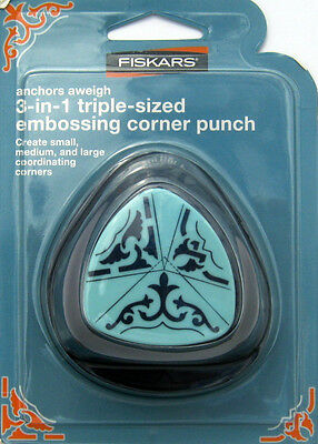 Fiskars ANCHORS AWEIGH 3-in-1 Triple Sized Embossing Corner Paper Punch NIP