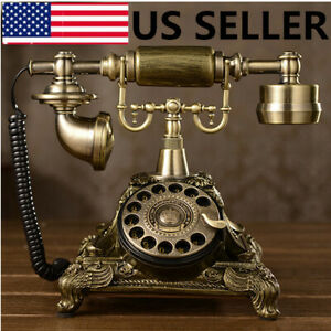 Retro-Rotary-Dial-Telephone-Vintage-Handset-Phone-Copper-For-Home-Office-Classic
