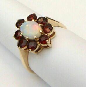 2CT-Oval-Cut-Fire-Opal-14k-Yellow-Gold-Finish-Garnet-Women-039-s-Floral-Wedding-Ring