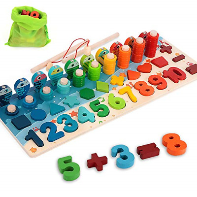 Wooden Number Puzzle Game Montessori Toys for Toddlers ...