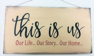Details zu This is Us our Life our Story our Home family wooden stenciled decorative sign