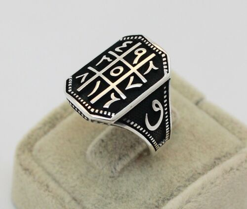 Solid 925 Sterling Silver Ottoman Arabic Numeral Men/'s Ring
