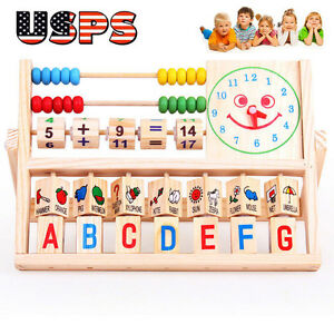 Children Baby Kids Learning Developmental Versatile Flap Abacus Wooden Toys USPS