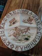 Vintage Western Dish Hand Painted Made In Japan Divided Plate Hanging Stoneware