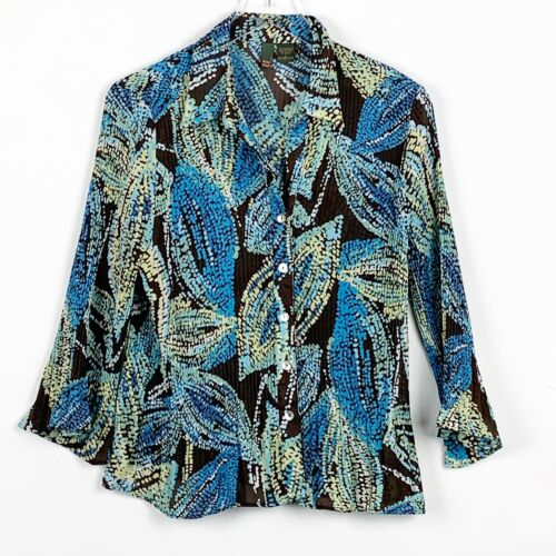 Sere Nade Womens Size Large Blouse Crinkle Long Sl