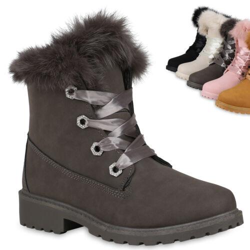 892760 Damen Stiefeletten Worker Boots Schuhe Outdoor Strass Trendy
