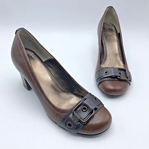 Sofft-1058300-Women-Brown-Leather-Closed-Toe-Buckle-Heel-Shoe-Size-9M-Pre-Owned