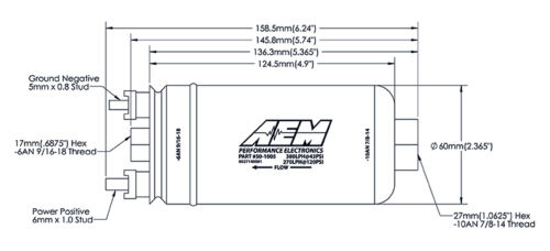 "AEM HIGH FLOW HIGH PRESSURE 380LPH /""BOSCH 044 STYLE/"" FUEL PUMP P//N:50-1005"