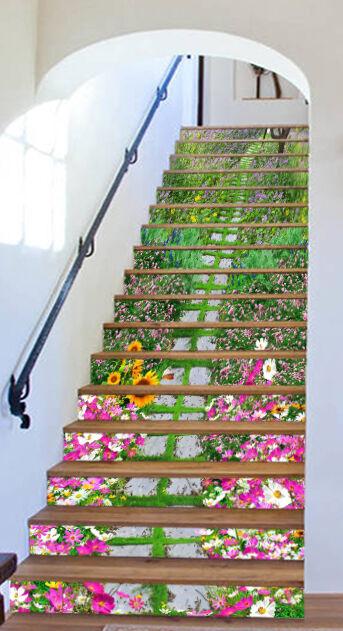 3D Garten Spur 4279 Stair Risers Dekoration Fototapete Vinyl Aufkleber Tapete DE