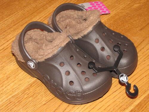 Crocs baya lined Clog kids child roomey fit sandal shoe C6//7 C 6 7 Espresso^^