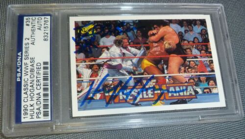 Hulk Hogan & Million Dollar Man Ted DiBiase Signed 1990 Classic WWF Card PSADNA