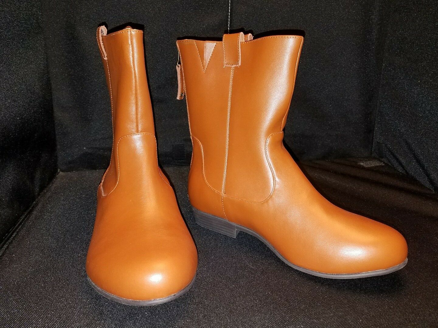 NWOB~ ComfortView ~8.5WW~ Bootie Caramel Leather Back Zippered Mid Calf BOOTS