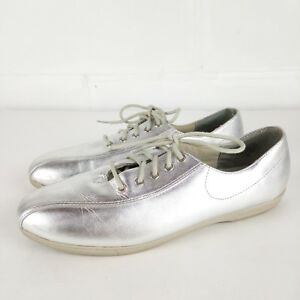 Annie-Oxford-Shoes-Women-Size-7-5-Silver-Leather