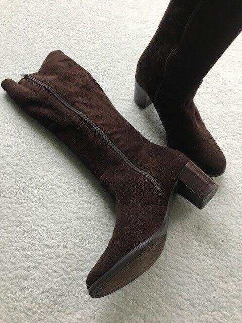 Karen Scott Brown Fabric Knee High Boot; Size 6; Pre-Owned