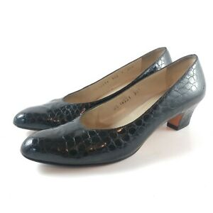 Salvatore-Ferragamo-Womens-Black-Pumps-Heels-Slip-On-Leather-Shoes-Sz-9-AAA-F11