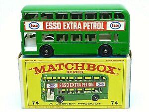 Matchbox-Lesney-Daimler-Fleetline-Bus-No-74b-en-caja-de-la-serie-E4-039-Tipo-034-Verde