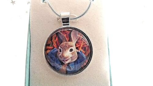 PETER RABBIT PHOTO BEATRIX POTTER  NECKLACE 18 INCH GIFT BOX BIRTHDAY PARTY BAG