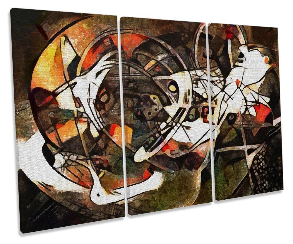 braun Abstract Design Framed TREBLE CANVAS PRINT Wall Art