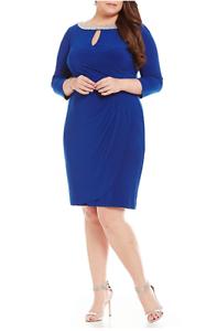 Alex Evenings Plus 3 4 Sleeve Keyhole Embellished Neckline Dress (SZ 20W) Cobalt