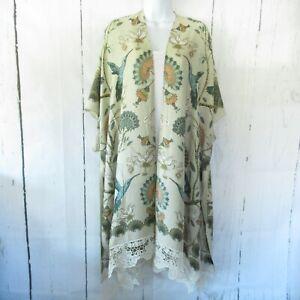 New Angie Kimono Wrap OS One Size S M L XL Tan Floral Bird Boho Peasant Crochet