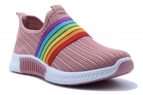 Nouveau Haut Femmes Slip on Rainbow Baskets Maille Baskets Party Chaussures