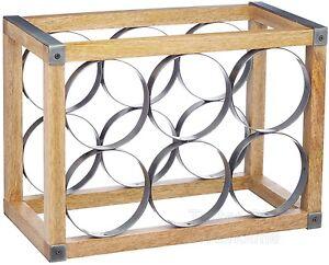 Details Sur Industriel Cuisine Style Vintage 6 Bouteille Metal Bois Casier A Vin Porte Afficher Le Titre D Origine