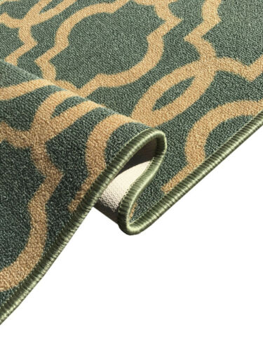 Custom Size Hallway Runner Rug Non Slip Rubber Back Teal Green Moroccan Trellis