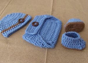 927249c39b7 Image is loading Handmade-Crochet-Baby-Boy-Hat-Diaper-Cover-amp-