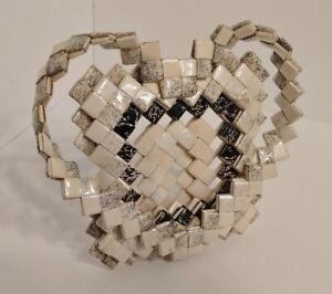 Vintage Folded Paper Chain Tramp American Folk Art Photo Frame HEART SHAPED