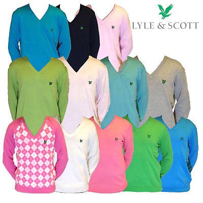 Smart Ladies Lyle & Scott Pima Cotton Sweater Jumper V-neck Green Eagle