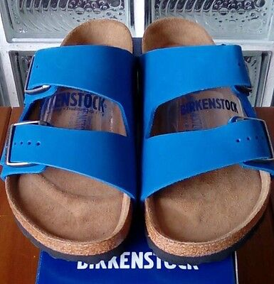 Birkenstock ARIZONA 057801 size 41L10M8 R Blue Nubuck Soft Footbed Sandals | eBay