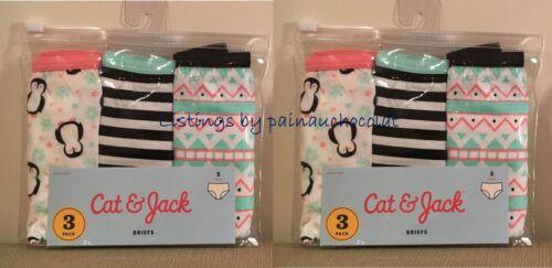 NEW Cat /& Jack 3 or 6 GIRLS Briefs Panties Underwear S M 100/% Cotton Penguin