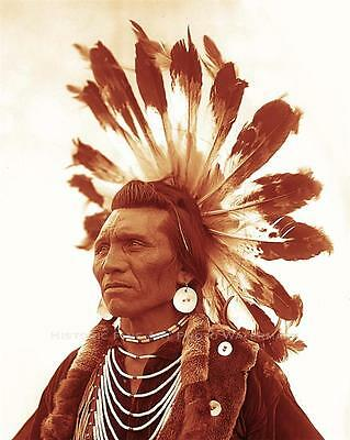 FLATHEAD INDIAN CHIEF EAGLE OLD PHOTO WARRIOR HEADDRESS 1885  #21005