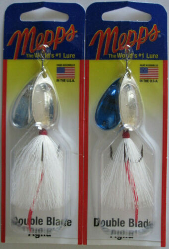 MEPPS Aglia Double Blade Spinners - Silver//Silver /& Silver//Blue 2 5//16 oz