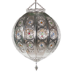 orientlampe orientalische deckenlampe marokkanische h ngelampe lampe rana silber ebay. Black Bedroom Furniture Sets. Home Design Ideas