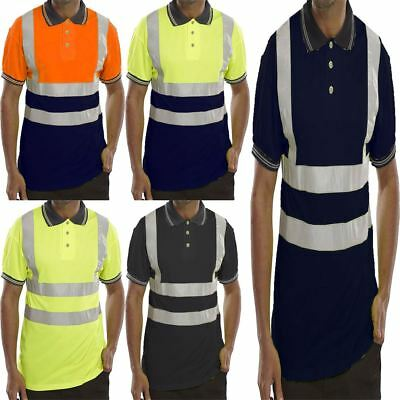 Short Sleeves Hi Viz Three Button Collar Shirt Top Mens Work Wear Soft Tshirt