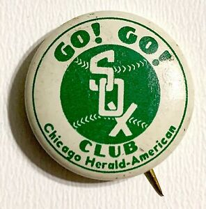 VINTAGE-1930s-Chicgo-White-Sox-Go-Go-White-Sox-Herald-American-Newspaper-Pinback
