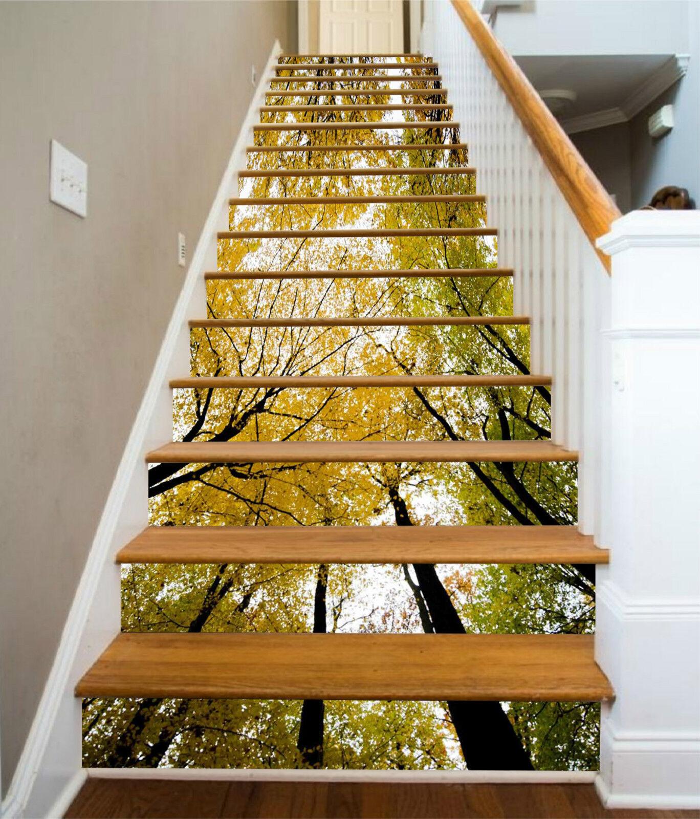 3d Forêt Arbre 0019 Stair Risers Décoration Papier Peint Vinyle Autocollant Papier Peint De