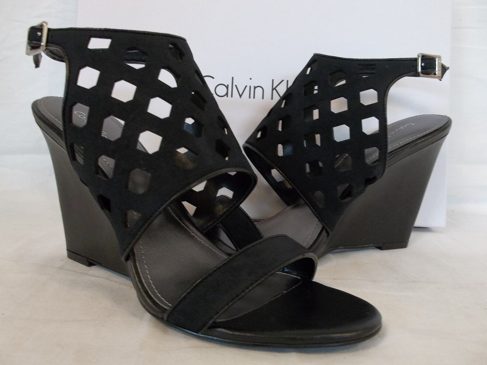 Calvin Klein Sz 9 M Meron Black Nubuck Leather Open Toe Wedges New Womens Shoes