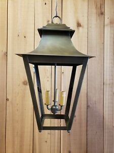 Details About Period Lighting Fixtures Prototype Antique Br Tapered Hanging Lantern