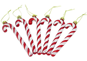 Christmas Concepts® Pack Of 6-13cm Glitter Candy Cane Christmas Tree Decorations
