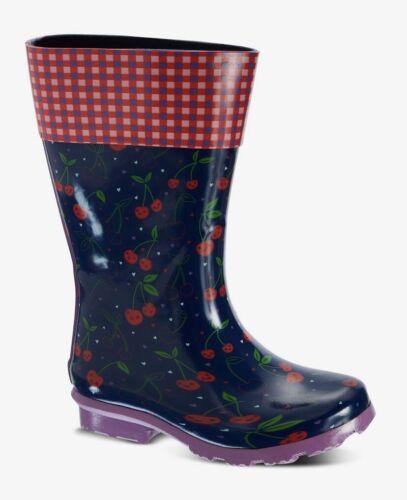 BNWT Girls Navy /& Red Cherry Print Wellies Wellington Boots Size 1 Kids NEW