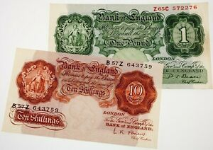 Lot-of-2-Great-Britain-Currency-Notes-10-Shilling-amp-1-Pound-VF-XF-Condition