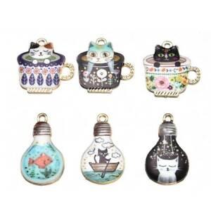 10PCS-Enamel-Alloy-Cat-Animal-Charms-Pendants-DIY-Jewelry-Findings-Crafts