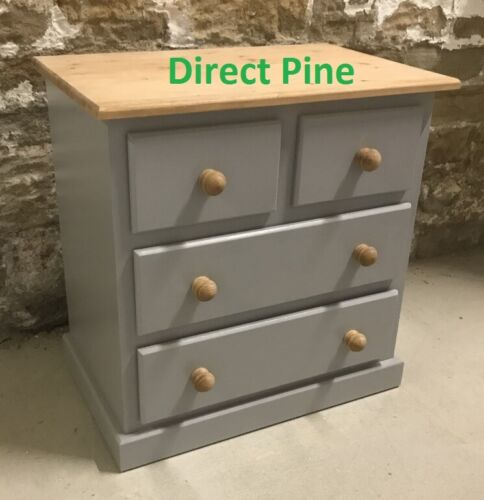 HANDMADE SHAFTESBURY 2+2 DRAWER CHEST GREY WITH ANTIQUE PINE TOP /& HANDLES