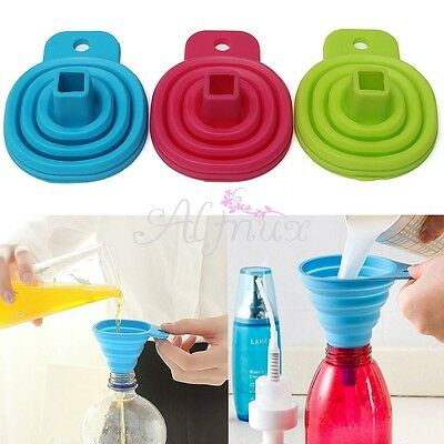 Kitchen Tool Foldable Practical Collapsible Silicone Funnel Hopper Gadget