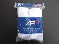 American Pride Made In Usa Crew Socks Six Pairs Sock Size 10-13 White/gray